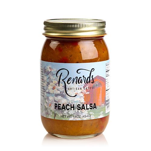 a jar of peach salsa