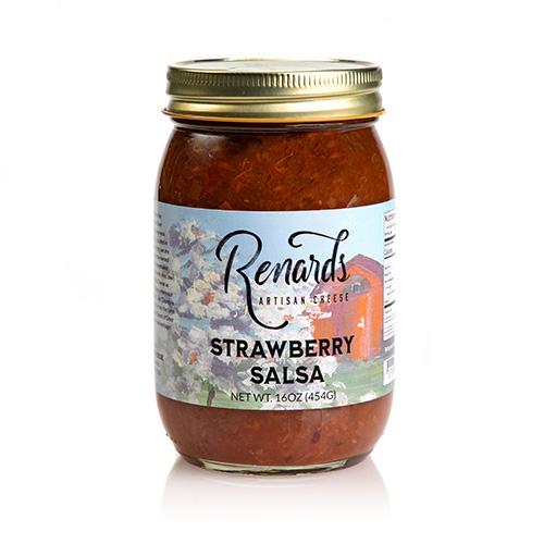 a jar of strawberry salsa