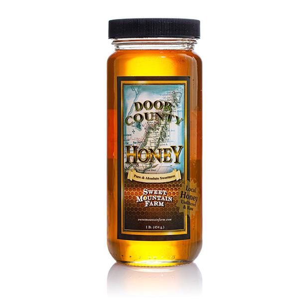 Raw Honey Glass Jar- Sweet Mountain Farms Jar