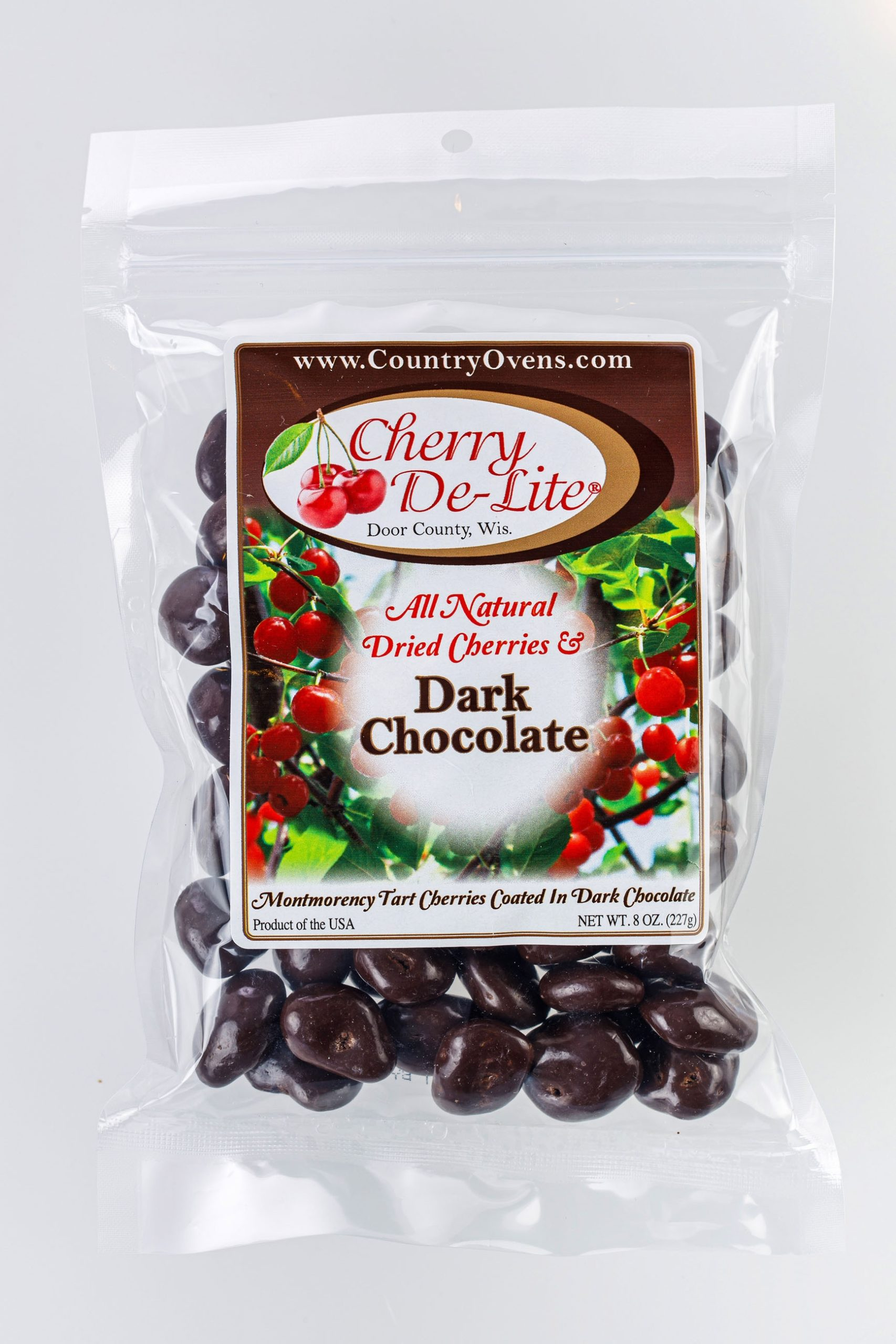 Cherry De-Lite Dark Chocolate Covered Dried Cherries 8oz-0