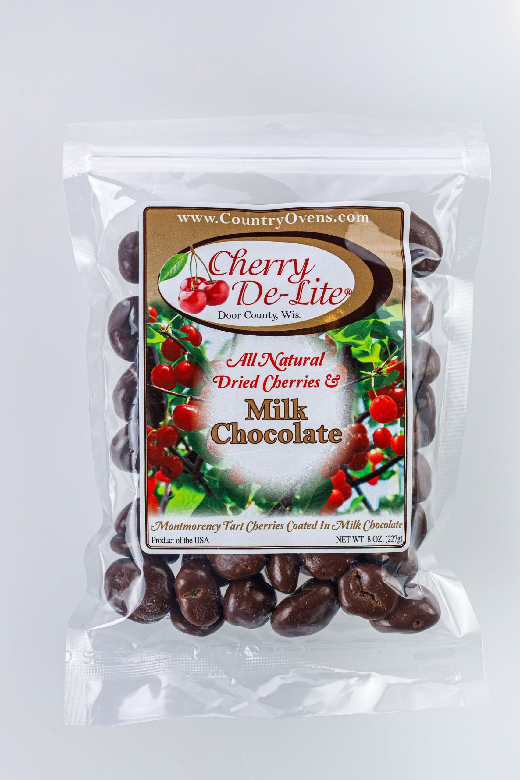 Cherry De-Lite Milk Chocolate Covered Dried Cherries 8oz-0
